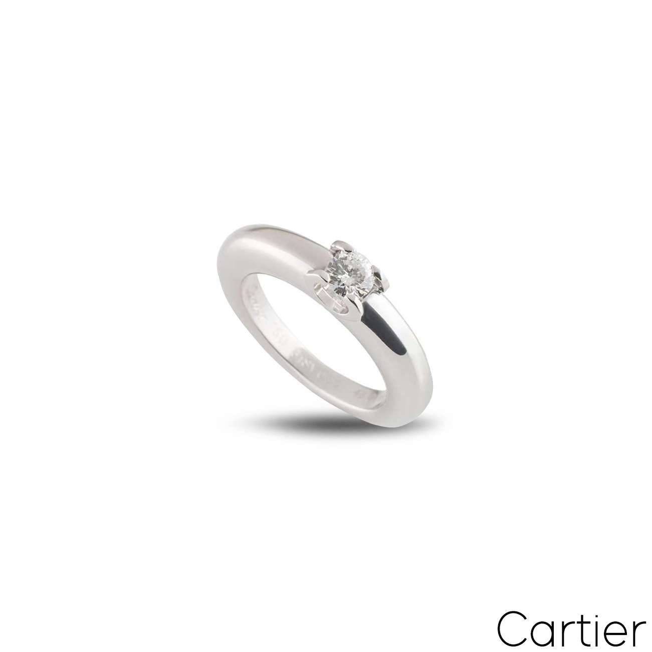 Cartier White Gold Diamond C De Cartier Ring Size 48
